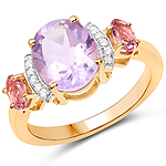 """14K Yellow Gold Plated 2.56 Carat Genuine Pink Amethyst, Pink Tourmaline and White Topaz .925 Sterling Silver Ring"""