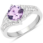 1.32 Carat Genuine Amethyst and White Topaz .925 Sterling Silver Ring