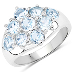 2.88 Carat Genuine Blue Topaz .925 Sterling Silver Ring