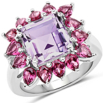 6.80 Carat Genuine Pink Amethyst and Rhodolite .925 Sterling Silver Ring