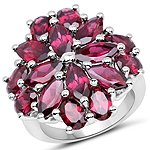 9.20 Carat Genuine Rhodolite .925 Sterling Silver Ring