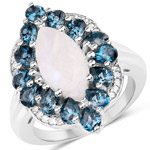 """4.68 Carat Genuine White Rainbow Moonstone, London Blue Topaz & White Topaz .925 Sterling Silver Ring"""