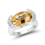 5.06 Carat Genuine Citrine and White Diamond .925 Sterling Silver Ring