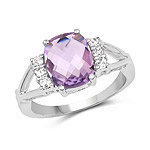 2.72 Carat Genuine Pink Amethyst and White Topaz .925 Sterling Silver Ring