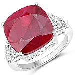 14.47 Carat Dyed Ruby and White Topaz .925 Sterling Silver Ring