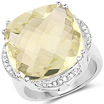 13.05 Carat Genuine Lemon Quartz and White Diamond .925 Sterling Silver Ring