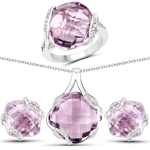 31.22 Carat Genuine Pink Amethyst and White Topaz .925 Sterling Silver 3 Piece Jewelry Set (Ring, Earrings, and Pendant w/ Chain)