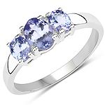 1.41 Carat Genuine Tanzanite .925 Sterling Silver Ring