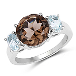 4.40 Carat Genuine Smoky Topaz & Blue Topaz .925 Sterling Silver Ring