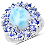 """7.02 Carat Genuine Larimar, Tanzanite and White Topaz .925 Sterling Silver Ring"""
