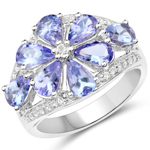 3.24 Carat Genuine Tanzanite & White Topaz .925 Sterling Silver Ring