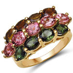 14K Yellow Gold Plated 4.58 Carat Genuine Multi Tourmaline .925 Sterling Silver Ring