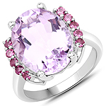 8.50 Carat Genuine Pink Amethyst and Rhodolite .925 Sterling Silver Ring