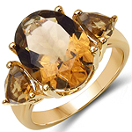 14K Yellow Gold Plated 6.86 Carat Genuine Champagne Quartz & Citrine .925 Sterling Silver Ring