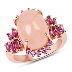 14K Rose Gold Plated 9.13 Carat Genuine Morganite and Rhodolite .925 Sterling Silver Ring