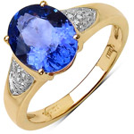 2.53 Carat Genuine Tanzanite and White Diamond 14K Yellow Gold Ring