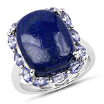 10.56 Carat Genuine Lapis and Tanzanite .925 Sterling Silver Ring