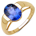 2.60 Carat Genuine Tanzanite 14K Yellow Gold Ring