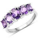 2.50 Carat Genuine Amethyst .925 Sterling Silver Ring