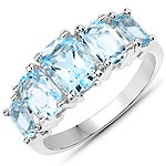 3.00 Carat Genuine Blue Topaz .925 Sterling Silver Ring