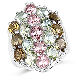 6.74 Carat Genuine Brown Tourmaline, Pink Tourmaline & Green Tourmaline .925 Sterling Silver Ring