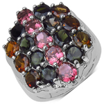 6.74 Carat Genuine Multi Tourmaline .925 Sterling Silver Ring