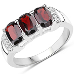 1.84 Carat Genuine Garnet and White Topaz .925 Sterling Silver Ring