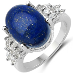 7.11 Carat Genuine Lapis & White Topaz .925 Sterling Silver Ring