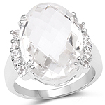 11.40 Carat Genuine Crystal Quartz and White Topaz .925 Sterling Silver Ring