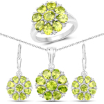 9.93 Carat Genuine Peridot and White Topaz .925 Sterling Silver 3 Piece Jewelry Set (Ring, Earrings, and Pendant w/ Chain)