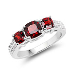 1.92 Carat Genuine Garnet and White Topaz .925 Sterling Silver Ring