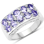 1.90 Carat Genuine Tanzanite .925 Sterling Silver Ring