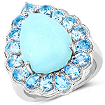 8.73 Carat Genuine Turquoise and Swiss Blue Topaz .925 Sterling Silver Ring