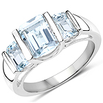 3.21 Carat Genuine Blue Topaz .925 Sterling Silver Ring