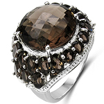 15.49 Carat Genuine Smoky Topaz .925 Sterling Silver Ring