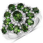 3.14 Carat Genuine Chrome Diopside and White Zircon .925 Sterling Silver Ring