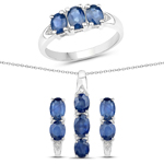 3.99 Carat Genuine Blue Sapphire and White Topaz .925 Sterling Silver 3 Piece Jewelry Set (Ring, Earrings, and Pendant w/ Chain)