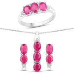 3.91 Carat Genuine Ruby and White Topaz .925 Sterling Silver 3 Piece Jewelry Set (Ring, Earrings, and Pendant w/ Chain)