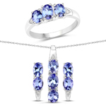 """3.77 Carat Genuine Tanzanite and White Topaz .925 Sterling Silver 3 Piece Jewelry Set (Ring, Earrings, and Pendant w/ Chain)"""