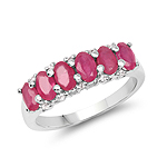 1.91 Carat Genuine Glass Filled Ruby & White Topaz .925 Sterling Silver Ring