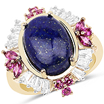 """14K Yellow Gold Plated 6.72 Carat Genuine Lapis, Rhodolite and White Topaz .925 Sterling Silver Ring"""