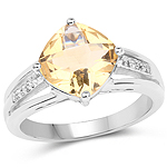 2.64 Carat Genuine Citrine and White Topaz .925 Sterling Silver Ring