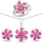 """7.05 Carat Genuine Ruby and White Topaz .925 Sterling Silver 3 Piece Jewelry Set (Ring, Earrings, and Pendant w/ Chain)"""