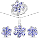 """6.05 Carat Genuine Tanzanite and White Topaz .925 Sterling Silver 3 Piece Jewelry Set (Ring, Earrings, and Pendant w/ Chain)"""
