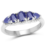 1.43 Carat Glass Filled Sapphire and White Topaz .925 Sterling Silver Ring