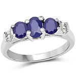 1.58 Carat Glass Filled Sapphire and White Diamond .925 Sterling Silver Ring