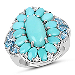8.11 Carat Genuine Turquoise, Swiss Blue Topaz and White Topaz .925 Sterling Silver Ring