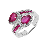 2.43 Carat Glass Filled Ruby and White Topaz Sterling Silver Ring
