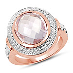 14K Rose Gold Plated 4.00 Carat Genuine Pink Amethyst .925 Sterling Silver Ring