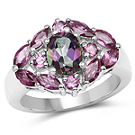 3.12 Carat Genuine Mystic Topaz and Rhodolite .925 Sterling Silver Ring